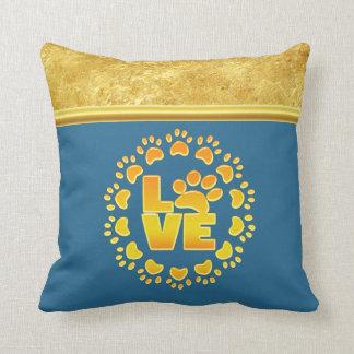 Almofada Ouro e azul luxuosos do impressão da pata do cão