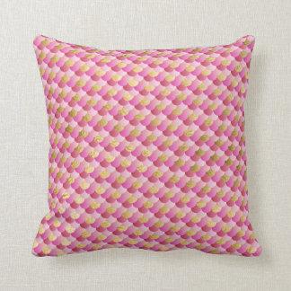 Almofada Ouro e escalas cor-de-rosa da sereia
