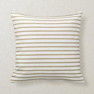 Almofada Ouro e travesseiro fino branco da listra