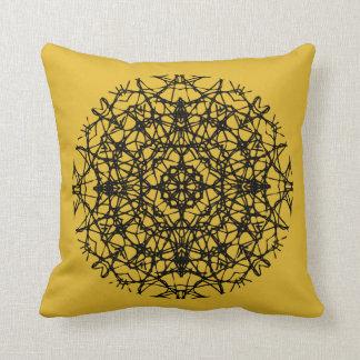 Almofada Ouro floral boémio da mostarda preta da arte da