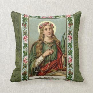 Almofada Palma verde dos rosas cor-de-rosa do St. Philomena