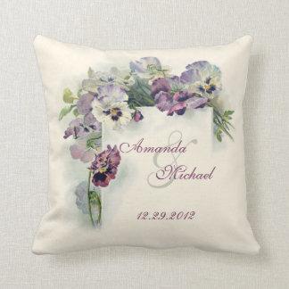 Almofada Pansies roxos que wedding o travesseiro decorativo