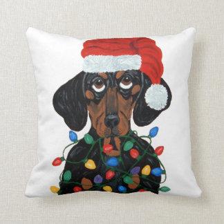 Almofada Papai noel do Dachshund Tangled em luzes de Natal