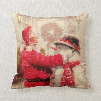 Almofada Papai Noel e o Natal do boneco de neve