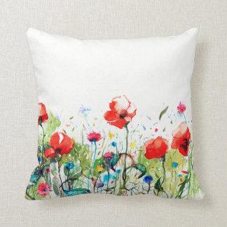 Almofada Papoilas vermelhas & flores coloridas