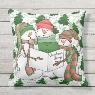 Almofada Para Ambientes Externos 3 Carolers do boneco de neve