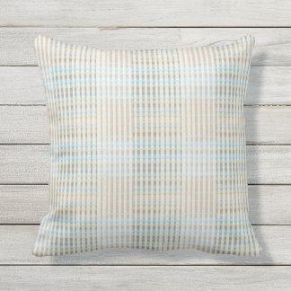 Almofada Para Ambientes Externos A fita azul do Taupe de Tan listra o travesseiro