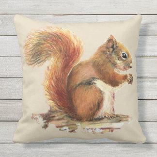 Almofada Para Ambientes Externos Arte pequena dos animais selvagens do esquilo