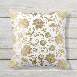 Almofada Para Ambientes Externos Branco & teste padrão floral reversível do vintage