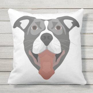 Almofada Para Ambientes Externos Cão Pitbull de sorriso da ilustração