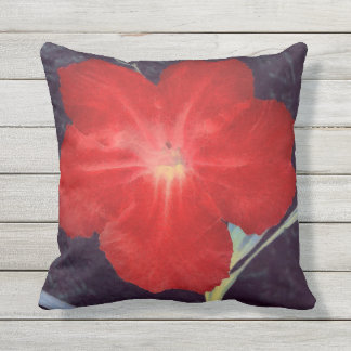 Almofada Para Ambientes Externos Cara vermelha rústica da flor