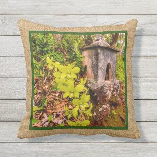 Almofada Para Ambientes Externos Exterior reversível havaiano da orquídea verde do