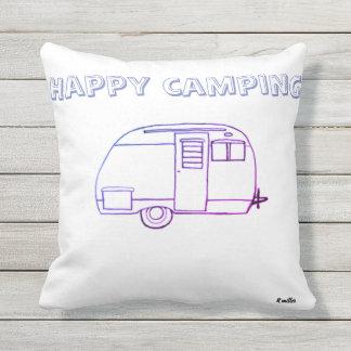 Almofada Para Ambientes Externos Floresta feliz do acampamento e do indago