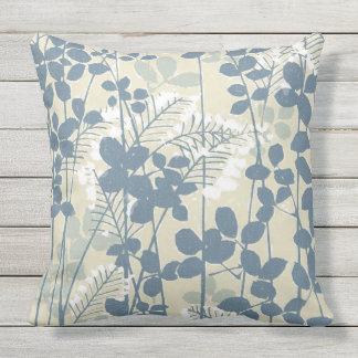 Almofada Para Ambientes Externos Impressão azul floral das flores da arte asiática