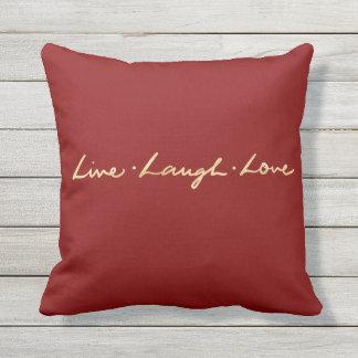 Almofada Para Ambientes Externos Mão elegante amor vivo rotulado do riso do ouro do