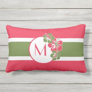 Almofada Para Ambientes Externos O Hawaiian de Hisbiscus do rosa quente entra,