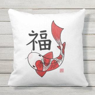 Almofada Para Ambientes Externos Peixes de Koi com o travesseiro do caráter da
