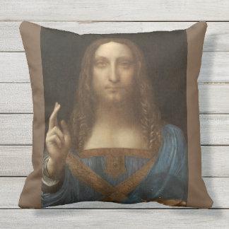 Almofada Para Ambientes Externos Salvator Mundi por Leonardo da Vinci cerca de 1500