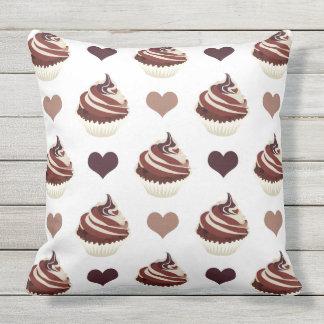Almofada Para Ambientes Externos teste padrão dos cupcakes do chocolate