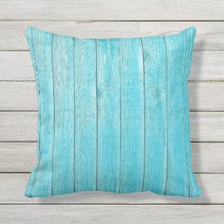 Almofada Para Ambientes Externos Textura de madeira de turquesa exterior