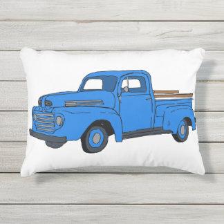 Almofada Para Ambientes Externos Travesseiro azul do caminhão do vintage