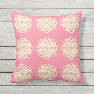 Almofada Para Ambientes Externos Travesseiro macio cor-de-rosa da flor do laço do
