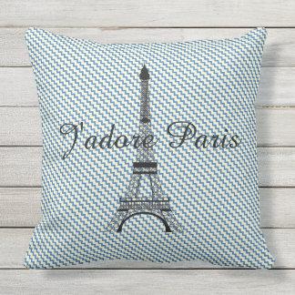 Almofada Para Ambientes Externos Viga branca do azul de Paris da torre Eiffel