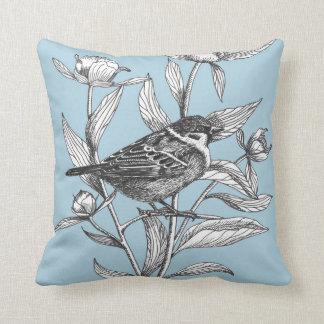 Almofada pardal e travesseiro decorativo azul elegante das
