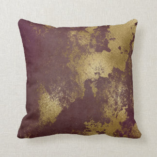 Almofada Parede suja afligida Borgonha vermelha do ouro
