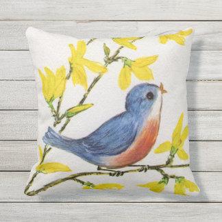 Almofada Pássaro adorável do canto do vermelho azul flores
