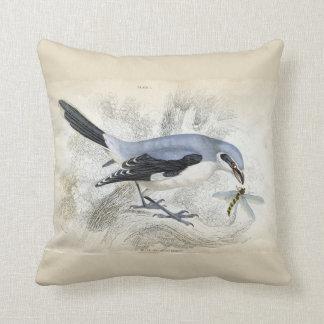 Almofada Pássaro azul com o azul de Tan do travesseiro da