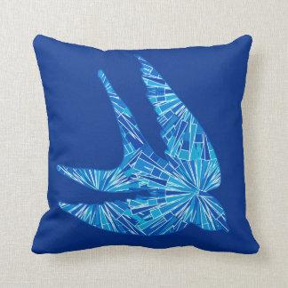 Almofada Pássaro, cobalto e azul-céu geométricos modernos