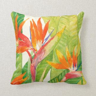 Almofada Pássaro das flores   de paraíso tropical