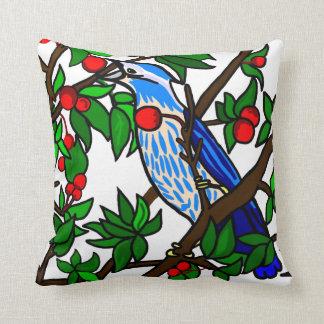 Almofada Pássaro do azul da árvore de cereja
