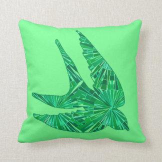 Almofada Pássaro geométrico moderno, jade e verde esmeralda
