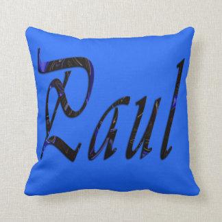 Almofada Paul, nome, logotipo, coxim azul do lance
