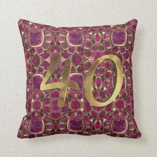 Almofada Pedra preciosa número dourado 40 do ouro do rubi
