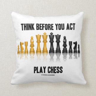 Almofada Pense antes que você xadrez reflexiva da xadrez do