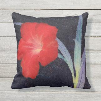 Almofada Perfil vermelho rústico da flor