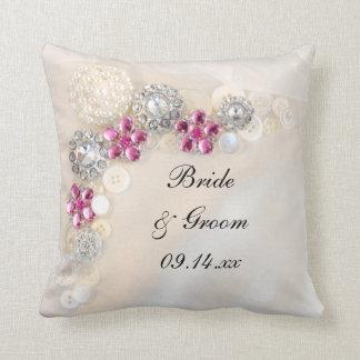 Almofada Pérola branca e botões cor-de-rosa do diamante que