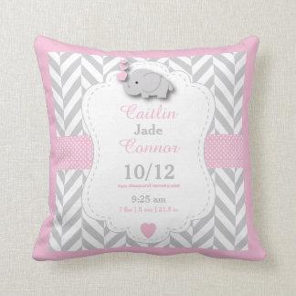 Almofada Personalize - o elefante de rosa de bebê, de cinza