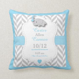 Almofada Personalize - o elefante dos azuis bebés, do cinza