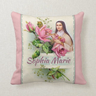 Almofada Personalize St. Therese do vintage a flor pequena