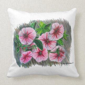 Almofada Petúnias do rosa do desenho de lápis da cor dos