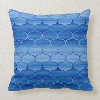 Almofada Pintado teste padrão claro e azul escuro de Ogee
