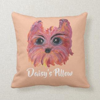 Almofada Pintura bonito do cão de Yorkie no rosa e na