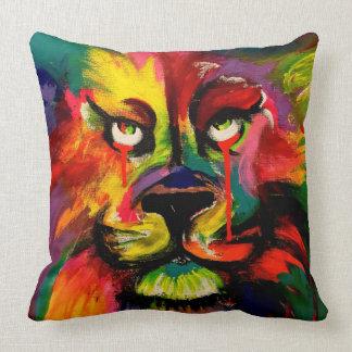 Almofada Pintura brilhantemente colorida bonita do leão