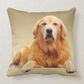 Almofada Pintura da arte da cor de água do cão do golden