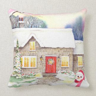Almofada Pintura nevado da aguarela da casa de campo