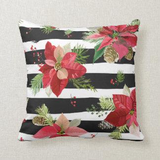 Almofada Poinsétias no travesseiro preto, branco das